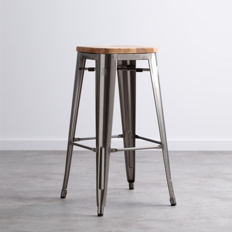 Sgabello Alto In Acciaio Zincato Industrial Wood (76 cm), immagine della galleria 1