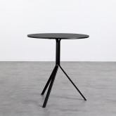 Tavolo da Pranzo Rotondo in MDF e Acciaio (Ø70 cm) Adon, immagine in miniatura 1