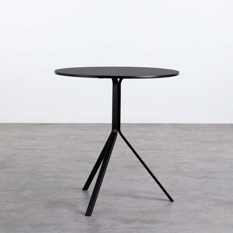 Tavolo da Pranzo Rotondo in MDF e Acciaio (Ø70 cm) Adon, immagine della galleria 1