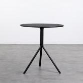 Tavolo da Pranzo Rotondo in MDF e Acciaio (Ø70 cm) Adon, immagine in miniatura 3