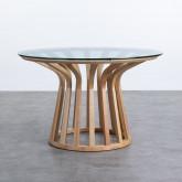 Tavolo da Pranzo Rotondo in Legno e Cristallo (Ø120 cm) Roxet, immagine in miniatura 1