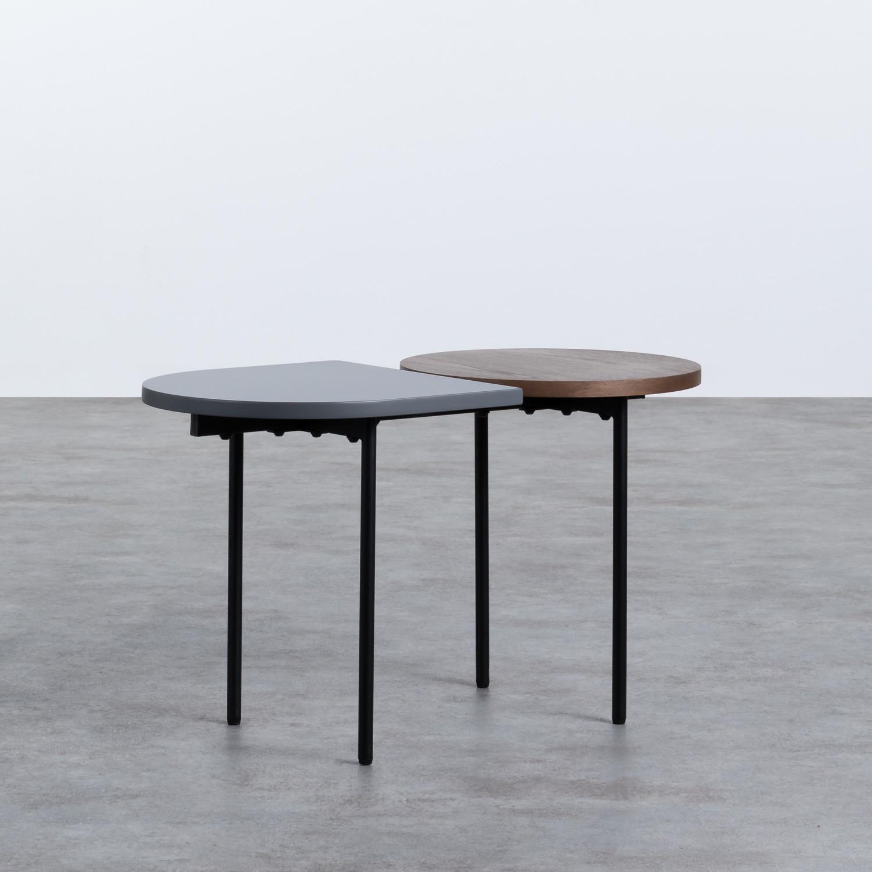 Tavolino da Caffé con 2 Ripiani in Legno e Acciaio (70x35 cm) Tri, immagine della galleria 1