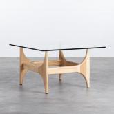 Tavolino da Caffé Quadrato in Legno e Vetro (80x80 cm) Mavhy, immagine in miniatura 1