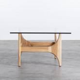 Tavolino da Caffé Quadrato in Legno e Vetro (80x80 cm) Mavhy, immagine in miniatura 3