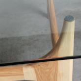 Tavolino da Caffé Quadrato in Legno e Vetro (80x80 cm) Mavhy, immagine in miniatura 5