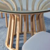 Tavolo da Pranzo Rotondo in Legno e Cristallo (Ø120 cm) Roxet, immagine in miniatura 4