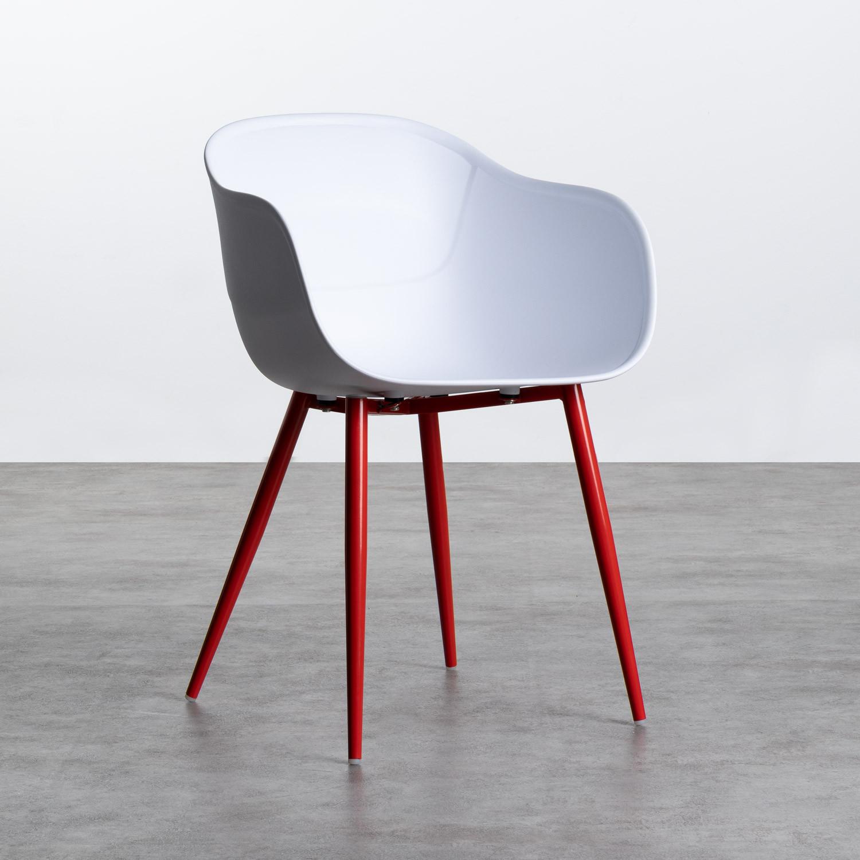Sedia da Pranzo con Braccioli in Polipropilene e Metallo Jed Classic, immagine della galleria 1