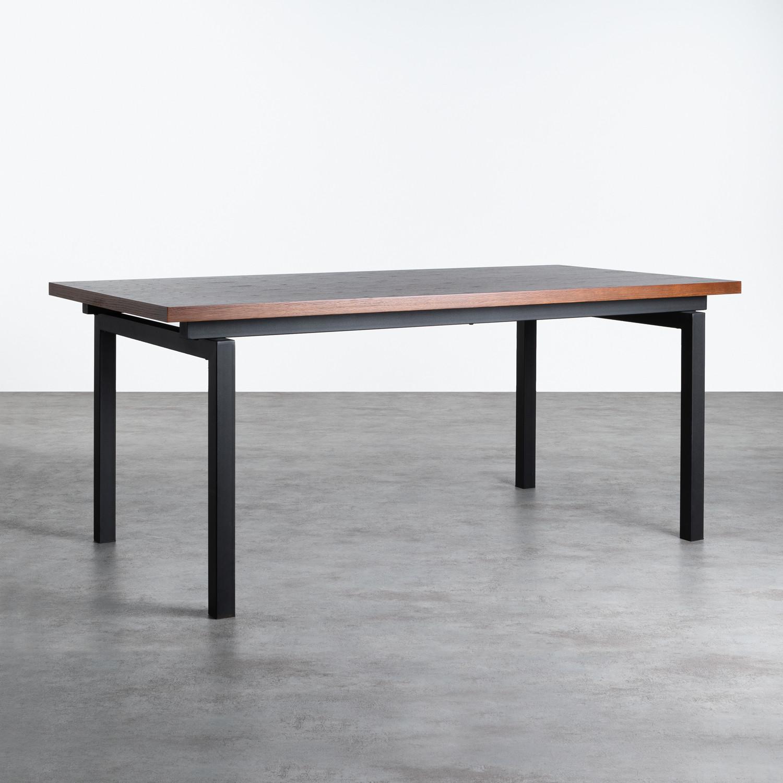 Tavolo da Pranzo Rettangolare in MDF di Legno di Quercia e Metallo (180x90cm) Inset, immagine della galleria 1