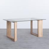Tavolo da Pranzo Rettangolare in MDF e Cristallo (160x90 cm) Vetro, immagine in miniatura 1