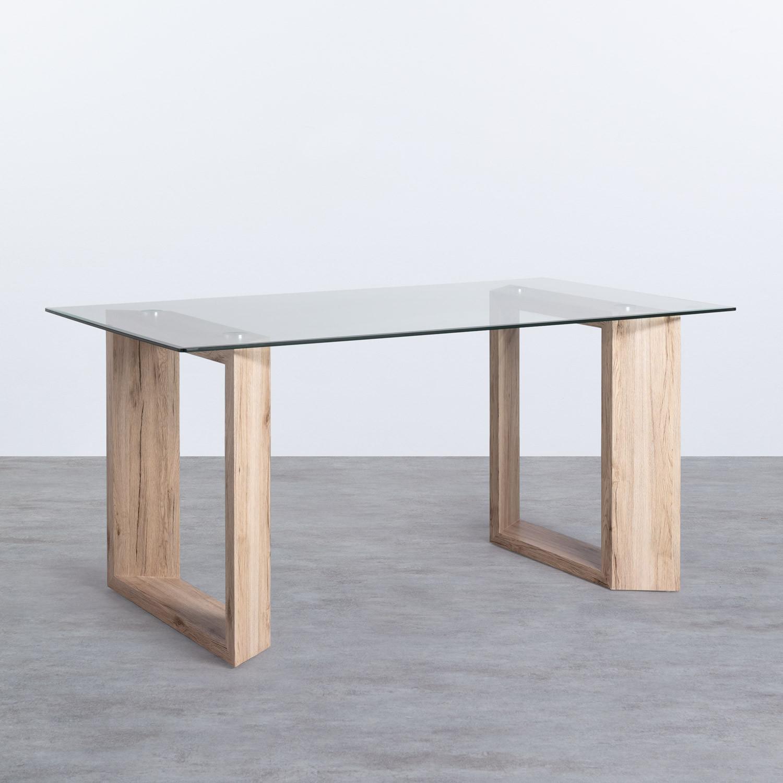 Tavolo da Pranzo Rettangolare in MDF e Cristallo (160x90 cm) Vetro, immagine della galleria 1