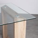 Tavolo da Pranzo Rettangolare in MDF e Cristallo (160x90 cm) Vetro, immagine in miniatura 4
