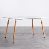 Tavolo da Pranzo Rettangolare in MDF e Legno di Faggio (140x90 cm) Blanc, immagine in miniatura 1