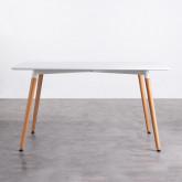 Tavolo da Pranzo Rettangolare in MDF e Legno di Faggio (140x90 cm) Blanc, immagine in miniatura 2