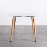 Tavolo da Pranzo Rettangolare in MDF e Legno di Faggio (140x90 cm) Blanc, immagine in miniatura 3