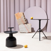 Tavolo da Pranzo Rotondo in MDF e Acciaio (Ø70 cm) Adon, immagine in miniatura 2